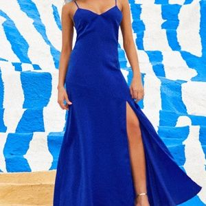 Lulus Hot Date Royal Blue Satin Maxi Dress